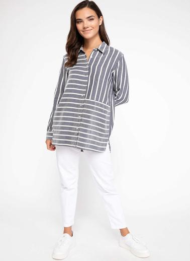 DeFacto Çizgi Detaylı Gömlek Tunik Lacivert
